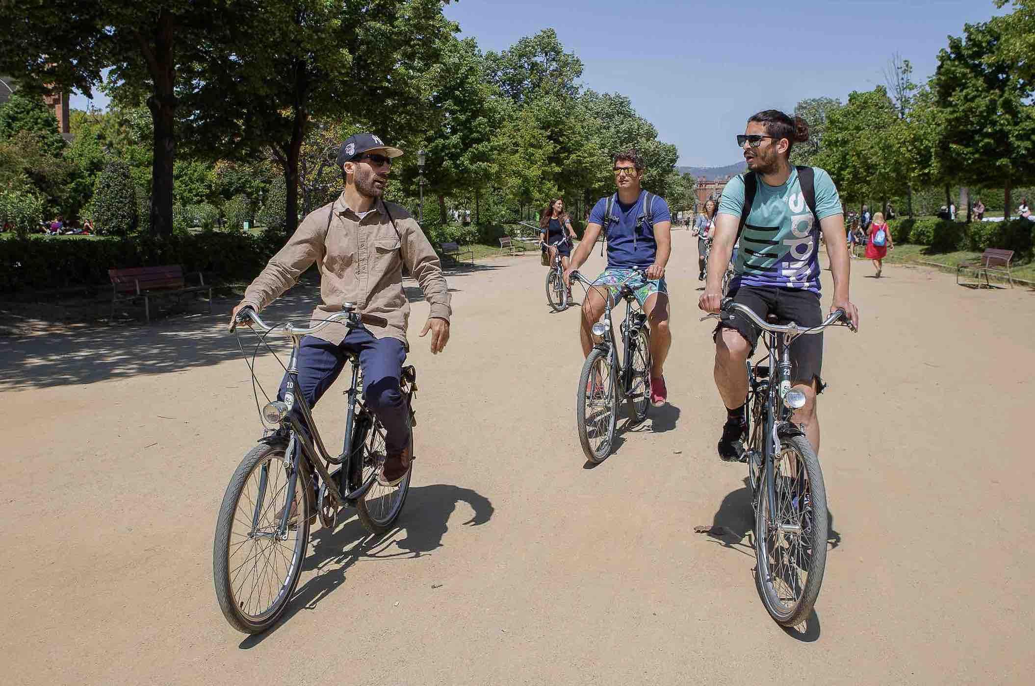 Cyclists on the BArcelona boardwalk