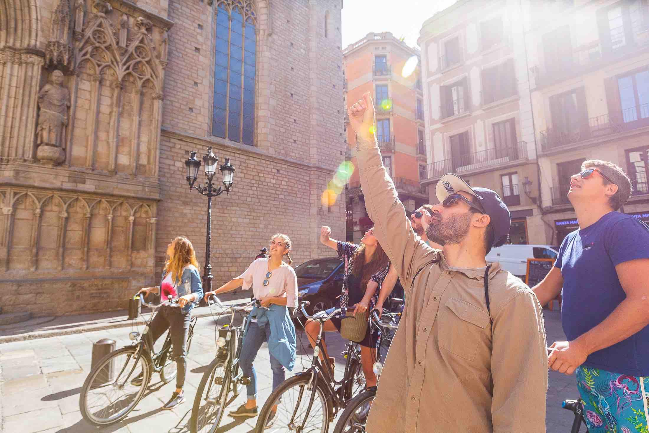 Tourists on a Steel Donkey Barcelona bike tour