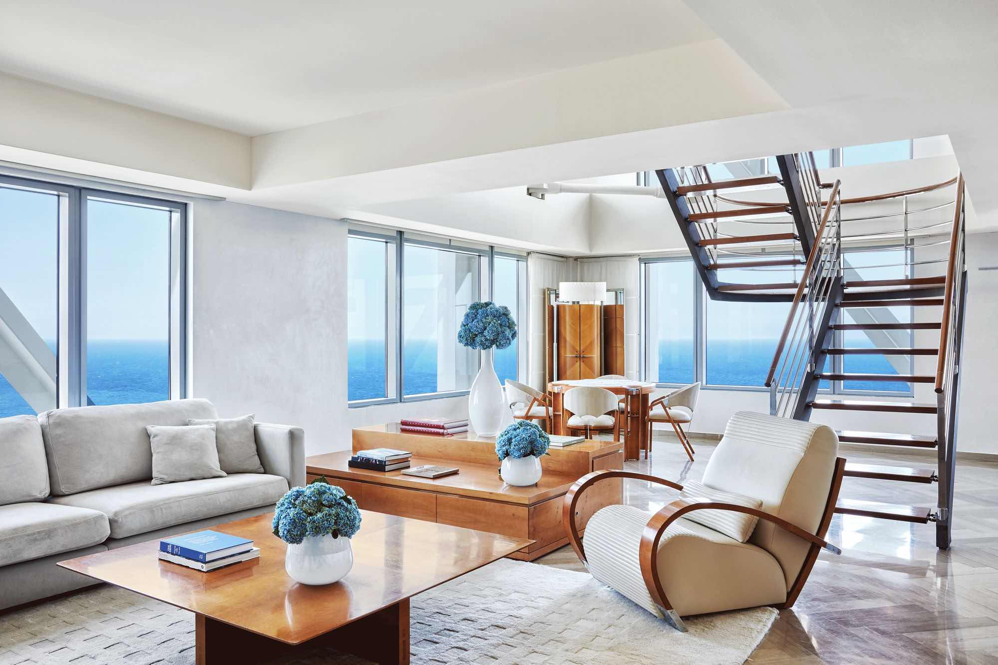 Hotel Arts Barcelona is one of the top luxury hotels in Barcelona showing loft room with sea views