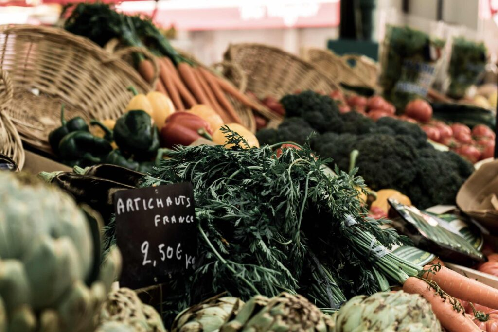 Paris Street Markets vegetables on display