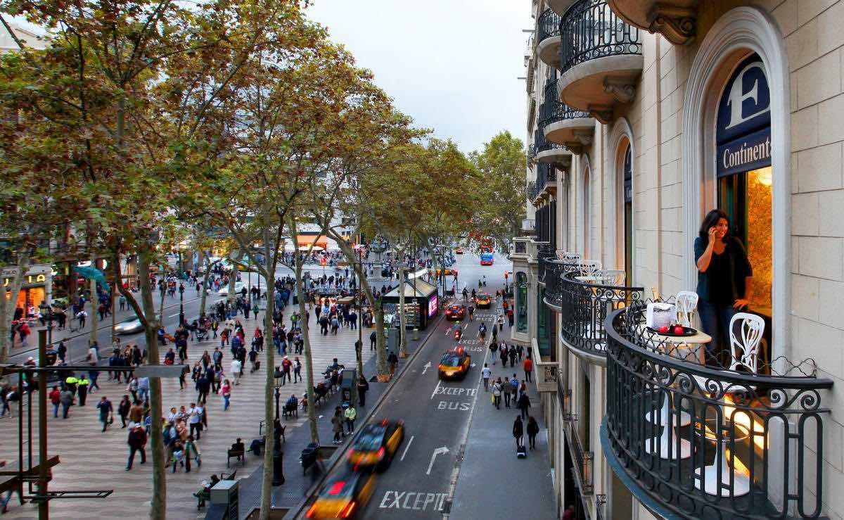 Hotel Continental Barcelona- Balcony with street view- luxury Barcelona Hotels in Las Ramblas
