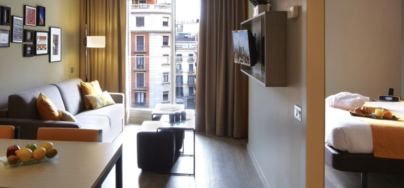 Citadines Ramblas Barcelona aparthotels in Barcelona room with view over city